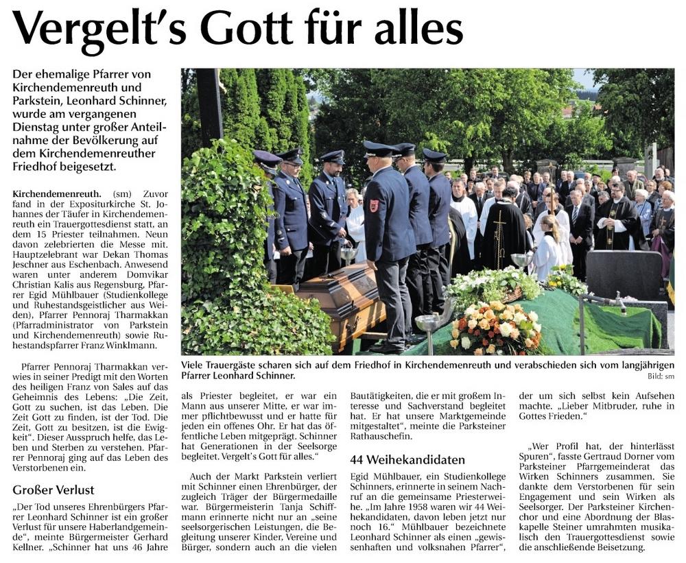 Leonhard Schinner Beerdigung 17.5.2018
