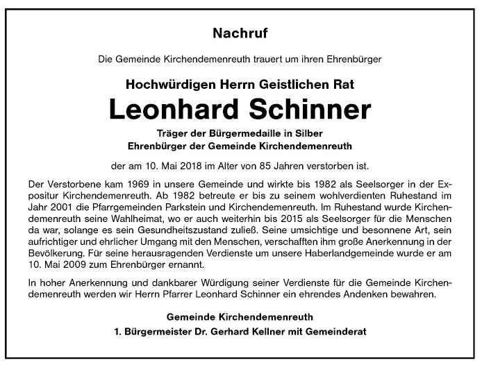 Leonhard Schinner Nachruf 15.5.2018
