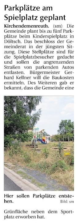 Parkplätze in Döltsch 13.8.2018
